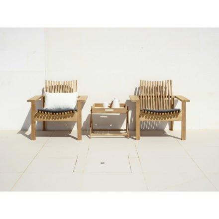 Loungesessel Amaze von Cane-Line, Teakholz, mit Sitzkissen grau und Beistelltisch