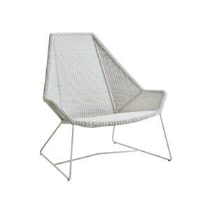 """Cane-line """"Breeze"""" Loungesessel mit hoher Rückenlehne, Polyrattan weiß-grau"""