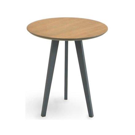 """Beistelltisch """"Atlantic"""" von Fischer Möbel, Gestell Aluminium anthrazit matt, Tischplatte fm-laminat spezial mit Teak"""