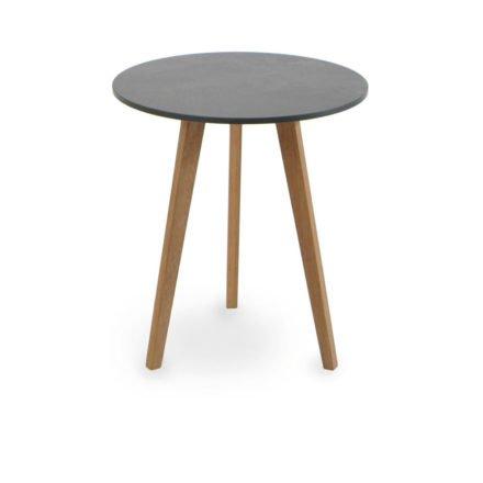 """Beistelltisch """"Atlantic"""" von Fischer Möbel, Gestell Teakholz, Tischplatte fm-laminat spezial graphito"""