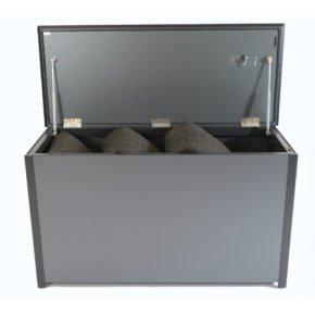 Kissentruhe von Fischer Möbel, Aluminium anthrazit, fm-laminat spezial graphite metallic