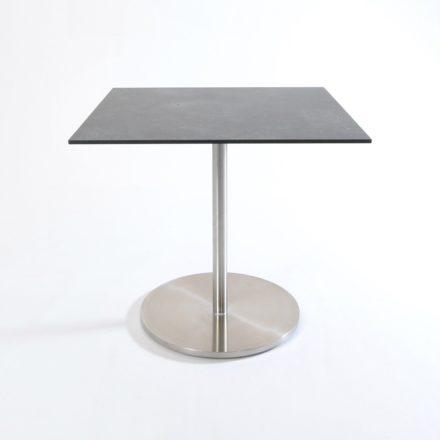 """Fischer Möbel """"Swing"""" Bistrotisch, Edelstahlgestell mit Tischplatte aus fm-laminat, Farbe spezial graphito"""
