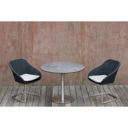 """Niehoff """"Nizza"""" Freischwinger, Edelstahl Gestell, Sitzschale Polyrattan black, """"Bistro"""" Gartentisch, rund, Edelstahl Gestell, Tischplatte HPL Beton-Design"""