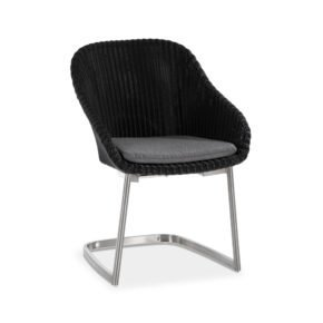 """Niehoff """"Nizza"""" Freischwinger, Edelstahl Gestell, Sitzschale Polyrattangeflecht black mit Sitzkissen Royal silber"""