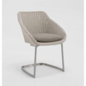 """Niehoff """"Nizza"""" Freischwinger, Edelstahl Gestell, Sitzschale Polyrattangeflecht white washed mit Sitzkissen grau"""
