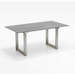 """Niehoff """"Nando"""" Ausziehtisch, Gestell Edelstahl, Tischplatte HPL Beton-Design"""
