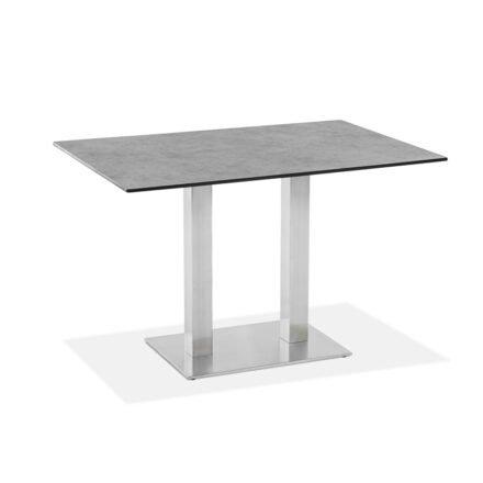 "Niehoff Tisch ""Bistro"", Gestell Edelstahl, Tischplatte HPL Zement-Design, eckig, 120 cm"