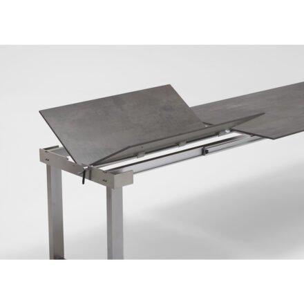 """Niehoff """"Nando"""" Ausziehtisch, Gestell Edelstahl, Tischplatte HPL Granit-Design"""