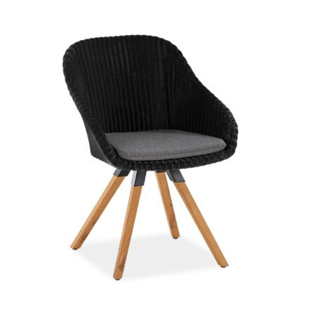"Niehoff ""Nizza"" Gartenstuhl, Teakholz Gestell, Sitzschale Polyrattan black mit Sitzkissen Royal silber"