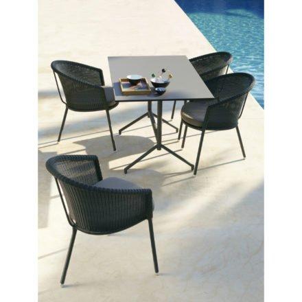 """Cane-line Gartentisch """"Avenue"""", Gestell Aluminium schwarz, Tischplatte HPL grau, mit Gartenstuehlen """"Trinity"""""""