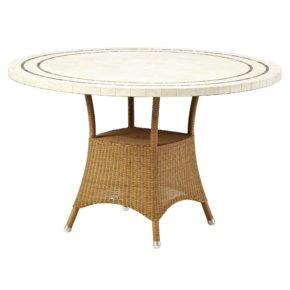 """Gartentisch """"Lansing"""" von Cane-line, Polyrattan natur, Tischplatte Travertin"""