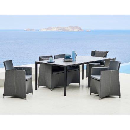 """Gartentisch """"Pure"""" von Cane-line, Gestell Aluminium grau, Tischplatte Keramikfließen grau"""