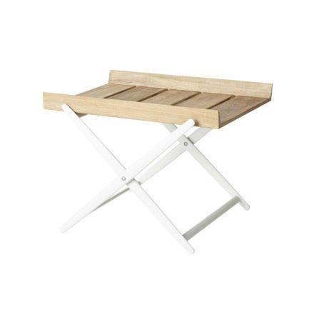 """Beistelltisch """"Rail"""" von Cane-line, Gestell Aluminium weiß, Tischplatte Teakholz"""