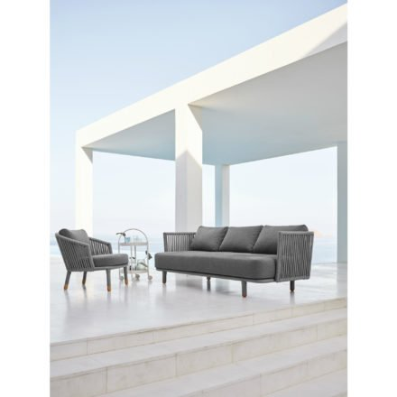 "Cane-line Lounge-Set mit Sessel ""Moments"", Loungesofa ""Moments"" und Servierwagen ""Roll"""