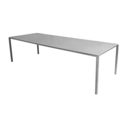 "Cane-line Gartentisch ""Pure"", Gestell Aluminium hellgrau, Platte Keramik concrete grey, 280x100 cm"
