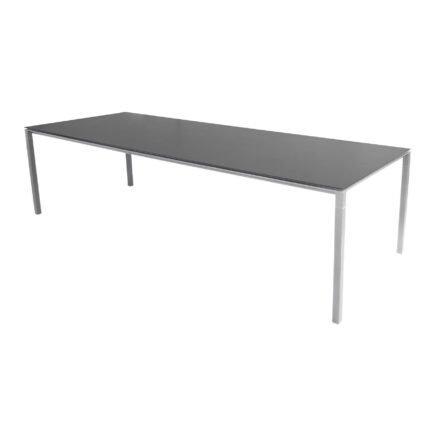 "Cane-line Gartentisch ""Pure"", Gestell Aluminium hellgrau, Platte Keramik nero black, 280x100 cm"