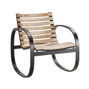"""Schaukelstuhl """"Parc"""" von Cane-line, Gestell Aluminium, Sitz- und Rückenfläche aus Teakholz"""