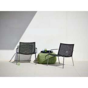 "Cane-line Lounge-Set mit Loungesessel ""Straw"", Hocker ""Divine"" & Tablett ""Club"""