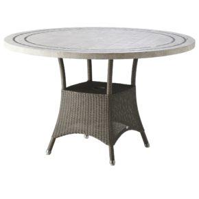"""Gartentisch """"Lansing"""" von Cane-line, Polyrattan taupe, Tischplatte Travertin"""