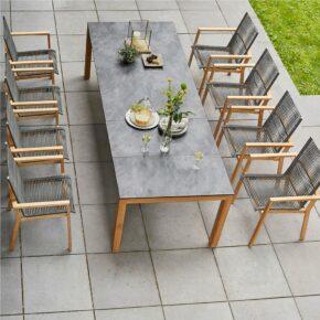 """Diamond Garden Gartentisch """"Palermo"""", Tischbeine Teakholz, Tischplatte HPL Schiefer und Gartenstuhl """"Atlanta"""" Teakholz"""
