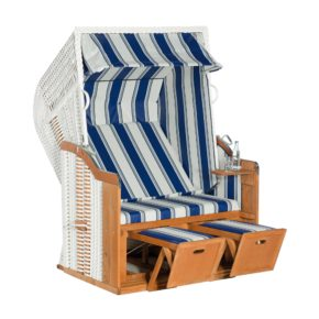"SunnySmart Strandkorb ""Rustikal 250 Basic"", Kunststoffgeflecht weiß, Bezug PVC-Stoff-Nr. 630"
