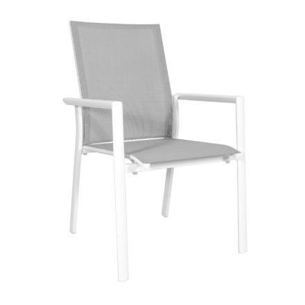 "Jati&Kebon Stapelsessel ""Nashville"", Gestell Aluminium weiß, Sitzfläche Textil hellgrau, Armlehnen Aluminium weiß"
