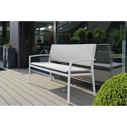 """Stern Gartenbank """"Allround"""", Gestell Aluminium weiß, Sitz- und Rückenfläche Textilgewebe silber, Auflage separat erhältlich"""