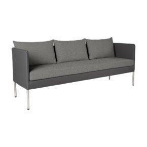 "Stern 3-Sitzer-Sofa ""Miguel"", Gestell Aluminium in Edelstahloptik, Textilenbezug anthrazit, Kissen grau meliert"