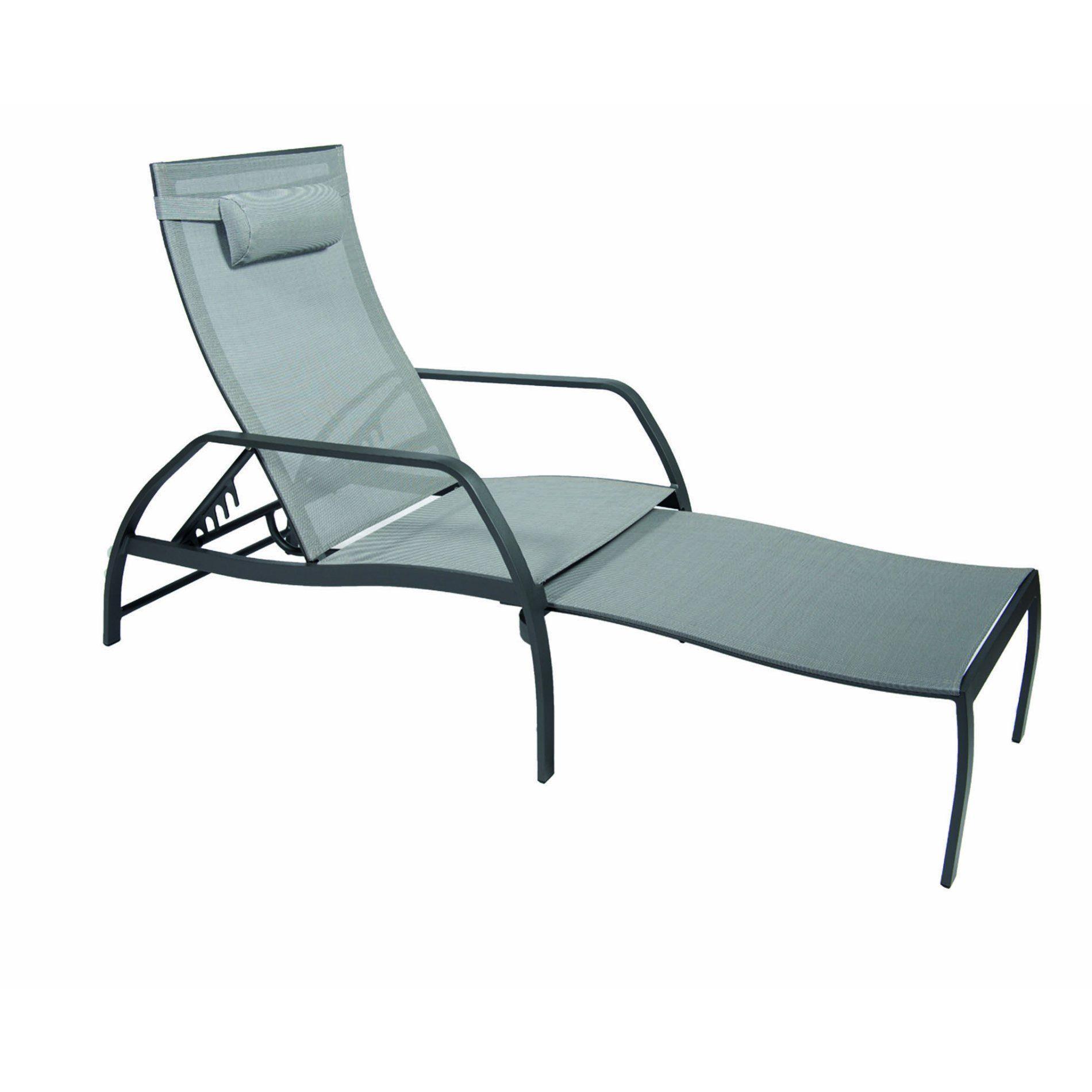 Deckchair Vedia von Jati&Kebon, Aluminium eisengrau, Textilgewebe silbergrau