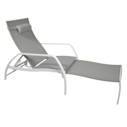 Deckchair Vedia von Jati&Kebon, Aluminium weiß, Textilgewebe hellgrau
