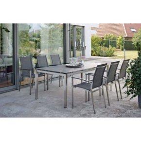 """Stern Gartenmöbel-Set mit Stuhl """"Evoee"""", Gestell Edelstahl, Textilgewebe silbergrau, Tisch Edelstahl/Dekton Lava anthrazit, 200x100 cm"""