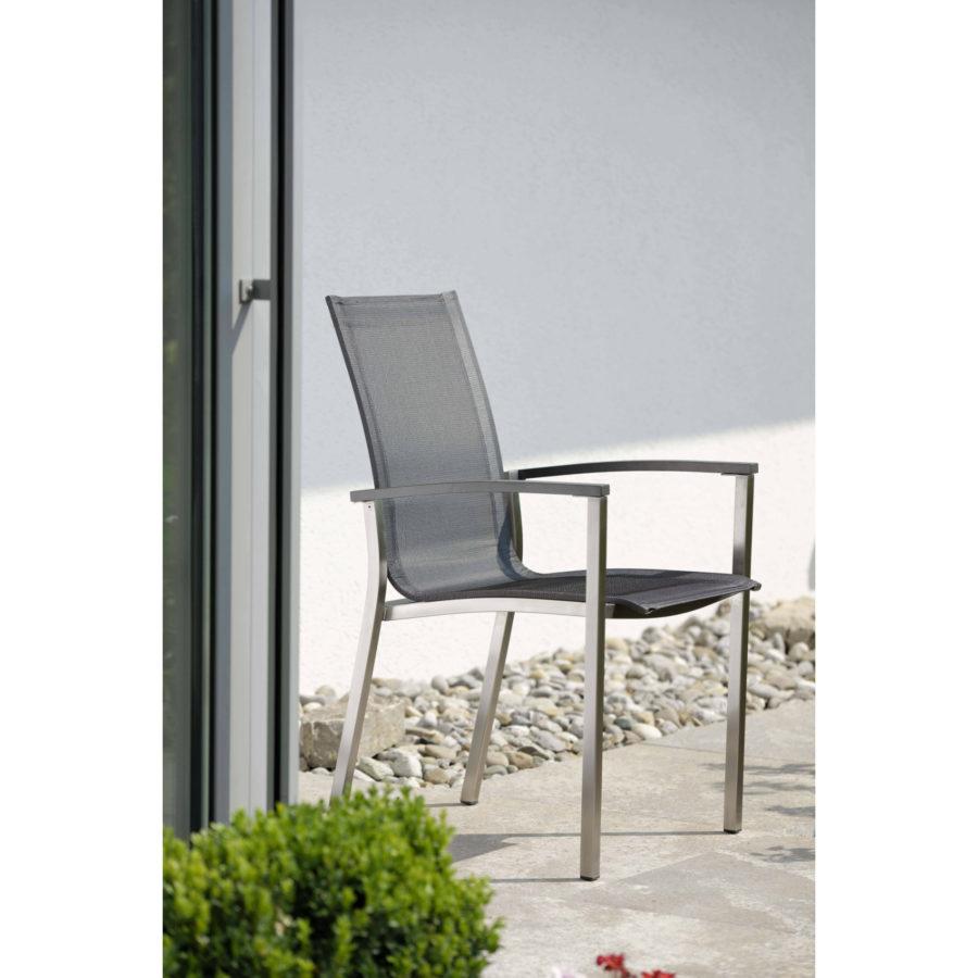 stern gartenm bel set mit stuhl evoee und tisch edelstahl keramik. Black Bedroom Furniture Sets. Home Design Ideas