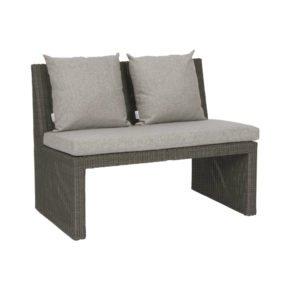 """2-Sitzer Bank """"Noel"""" von Stern, Gestell Aluminium, Geflecht basaltgrau"""
