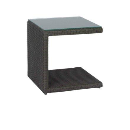 """Stern Beistelltisch """"Butler"""", Gestell Aluminium, Geflecht Polyrattan basaltgrau, Tischplatte Glas klar"""