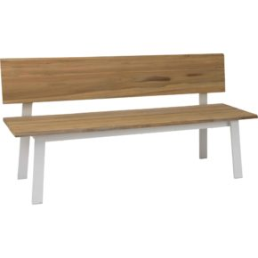 """Stern Gartenbank """"Sam"""", Gestell Aluminium weiß, Sitz- und Rückenfläche Teakholz"""