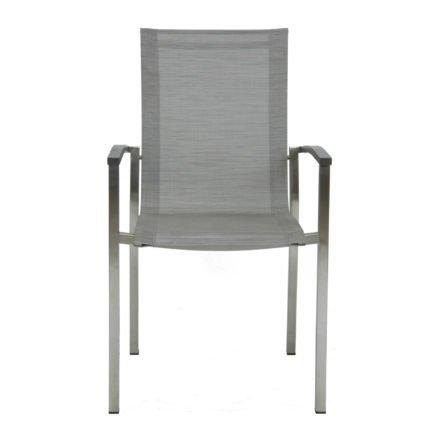 """Stern Stapelsessel """"Evoee"""", Gestell Edelstahl, Textilgewebe silber, Armlehnen Aluminium anthrazit"""