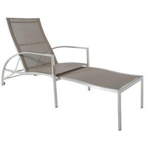 Deckchair Jona von Jati&Kebon, Edelstahl, Textilbespannung taupe