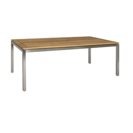 Gartentisch Muri von Jati&Kebon, Gestell Edelstahl, Tischplatte Teak