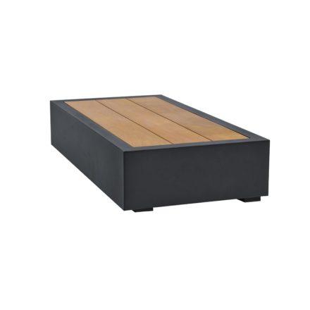 """Loungetisch klein """"Bari"""" von Jati&Kebon, Aluminium eisengrau, Tischplatte Teakholz"""