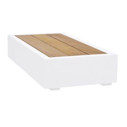 """Loungetisch klein """"Bari"""" von Jati&Kebon, Aluminium weiß, Tischplatte Teakholz"""