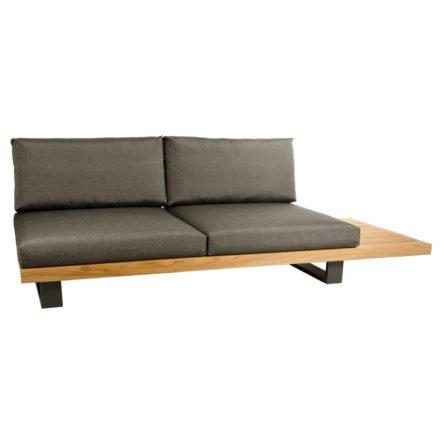 """2-Sitzer Basismodul """"Ego"""" von Jati&Kebon, Gestell aus Aluminium eisengrau und Teakholz, Sitz- Rückenkissen Charcoal Premium"""