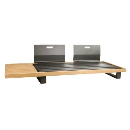 """2-Sitzer Basismodul """"Ego"""" von Jati&Kebon, Gestell aus Aluminium eisengrau und Teakholz, Rückenlehnen Aluminium eisengrau"""