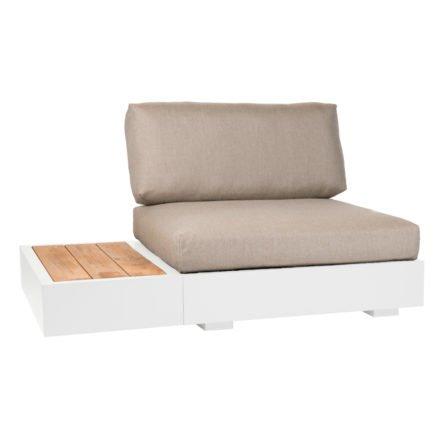 """Basismodul und Beistelltisch """"Bari"""" von Jati&Kebon, Aluminium weiß, Sitz- und Rückenkissen Shingles Premium"""