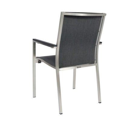 "Jati&Kebon Stapelsessel ""Darfo"", Gestell Edelstahl, Sitzfläche Textil basalt, Armlehnen Aluminium eisengrau"