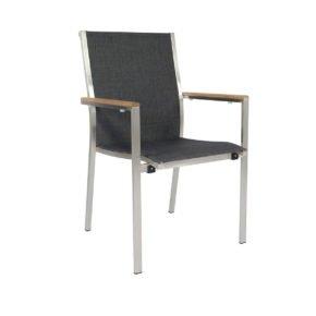 "Jati&Kebon Stapelsessel ""Darfo"", Gestell Edelstahl, Sitzfläche Textil basalt, Armlehnen Teakholz"