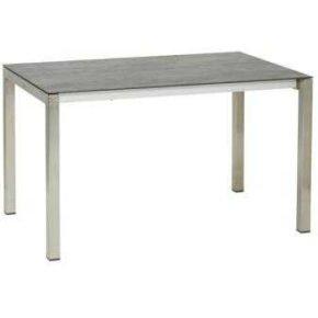 """Gartentisch """"Modena"""" von Jati&Kebon, Gestell Edelstahl, Tischplatte Keramik Zement hell, Größe: 130/180x80 cm"""