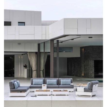 "Loungeserie ""Bari"" von Jati&Kebon, Aluminium weiß, Kissen Charcoal"