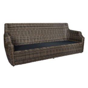 "3-Sitzer Loungesofa ""Utah"" von Jati&Kebon, Gestell Aluminium, Geflecht Polyrattan Vintage Oak"