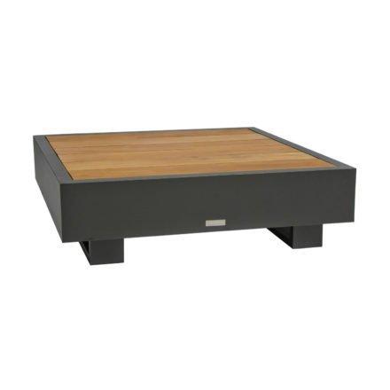 """Loungetisch """"Bari"""" von Jati&Kebon, Aluminium eisengrau, Tischplatte Teakholz"""