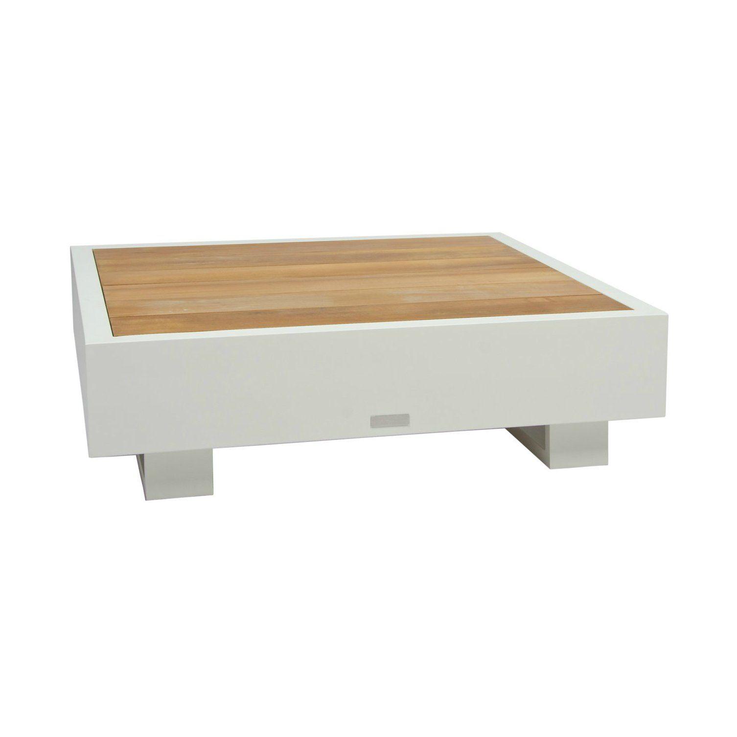 """Beistelltisch """"Bari"""" von Jati&Kebon, Aluminium weiß, Tischplatte Teakholz"""